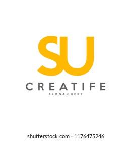 Initial SU logo concepts template vector