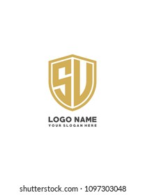 Initial SU SV abstract shield logo template vector