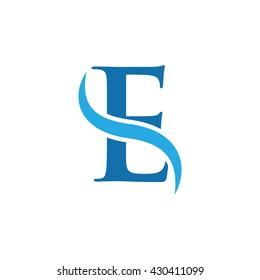 initial swoosh logo simple E