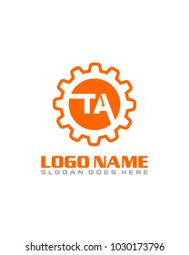 Initial T & A gear logo template vector