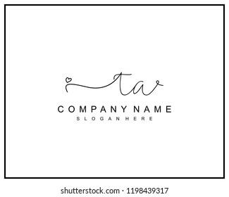 Initial T A handwriting logo template vector