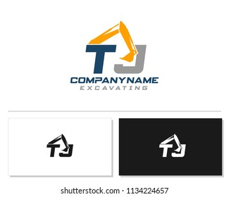 Initial T J excavator logo concept vector with arm excavator template vector.