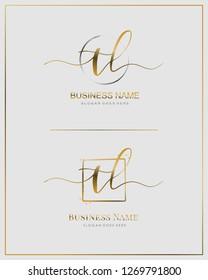 Initial T L TL handwriting logo vector. Letter handwritten logo template.