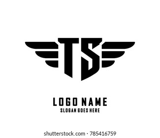 Initial T & S wing logo template vector