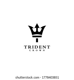 initial T for trident an crown logo vector