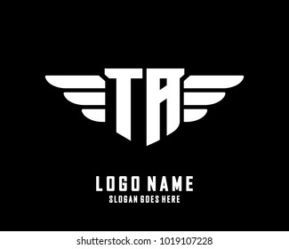 Initial T & A wing logo template vector