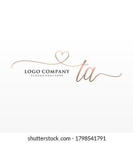 Initial TA beauty monogram and elegant logo design, handwriting logo of initial signature, wedding, fashion, floral and botanical with creative template.