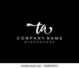 Initial TA handwriting logo vector