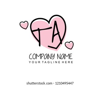 Initial TA with love logo template vector