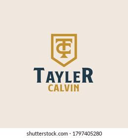 Initial TC CT C T monogam emblem logo template. Vector illustration