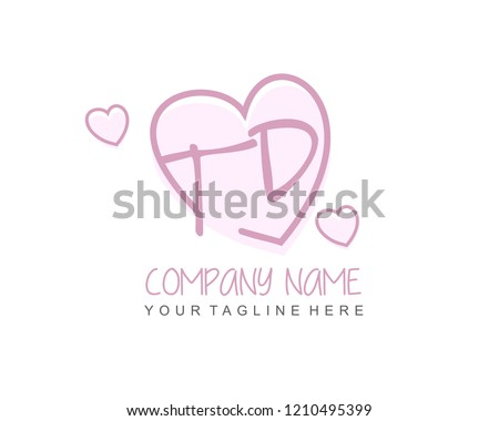 Initial TD Love Logo Template Vector Stock Vector Royalty Free Mesmerizing T D Love