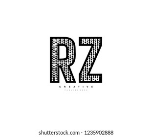 Initial Text RZ Letter Outline Linear Monogram with Abstract Dots Pattern Logotype