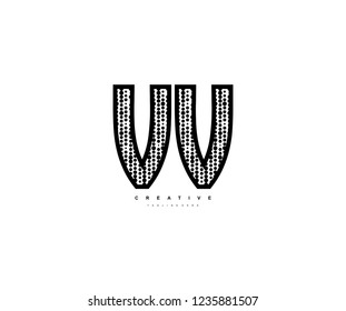 Initial Text VV Letter Outline Linear Monogram with Abstract Dots Pattern Logotype