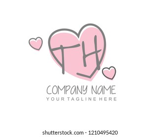 Initial TH with love logo template vector