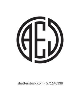 initial three letter logo circle black