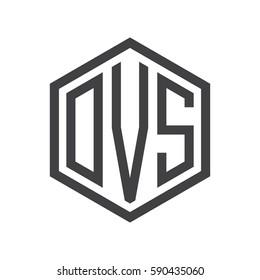 initial three letter logo hexagon black