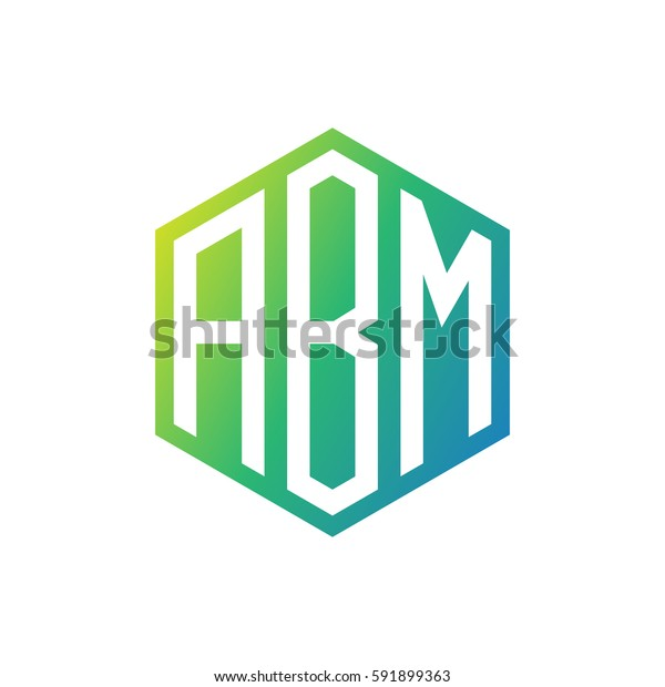 initial three letter negative space logo hexagon green blue