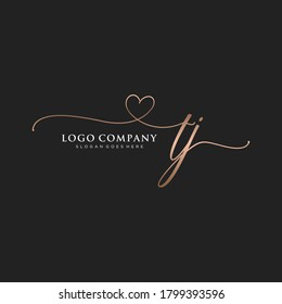 Initial TJ beauty monogram and elegant logo design, handwriting logo of initial signature, wedding, fashion, floral and botanical with creative template.