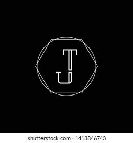 Initial TJ JT T J letter logo design in black background