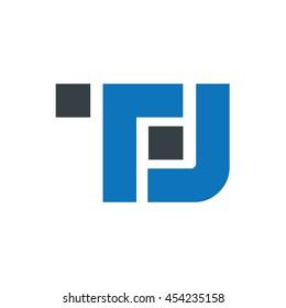 Initial TL TJ Square Logo Black Blue