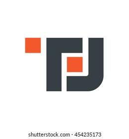 Initial TL TJ Square Logo Orange Black