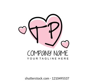 Initial TP with love logo template vector
