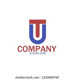 Initial TU, UT Logo monogram design template. Simple line shape style modern logo.