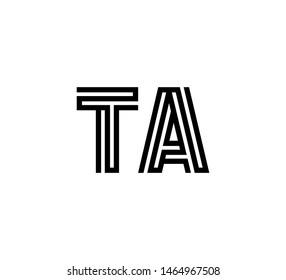 Initial two letter black line shape logo vector TA