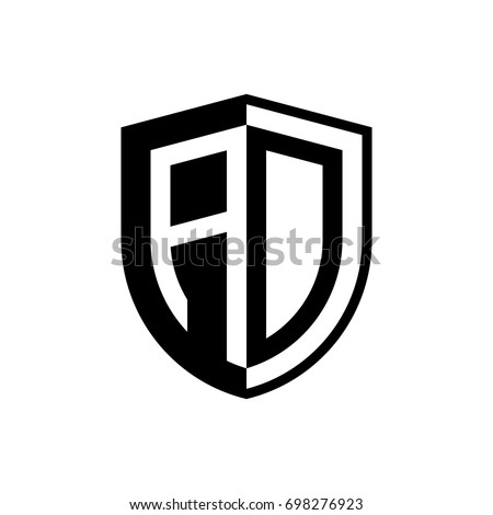 initial two letter logo shield vector black
