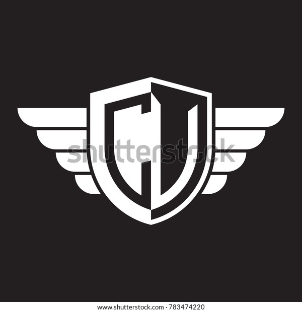 Initial two letter logo shield with wing