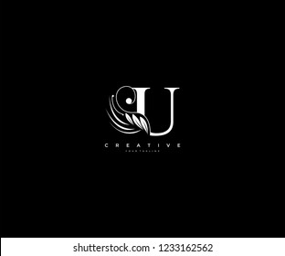 Initial U letter luxury beauty flourishes ornament monogram logo