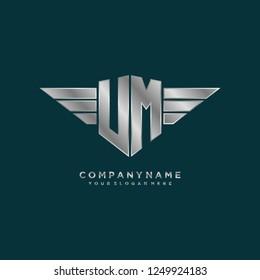 Initial U M wing logo template vector