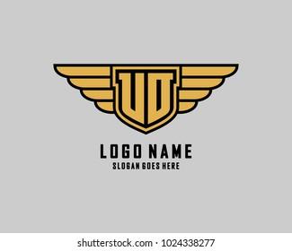 Initial U & O wing shield logo template vector