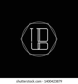 Initial UB BU letter logo design in black background