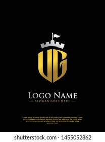 initial UG letter with shield style logo template vector
