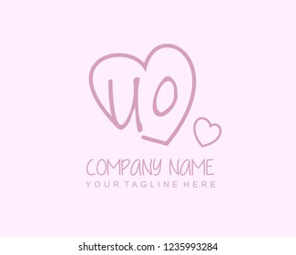 Initial UO with love logo template vector