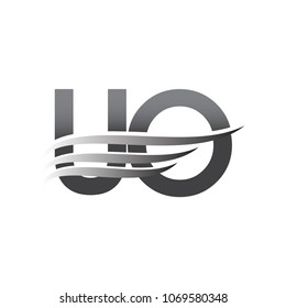 Initial UO wing logo, grey color vector logotype, logo for company name business and company identity.