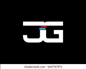 Initial uppercase letter JG logo on black background