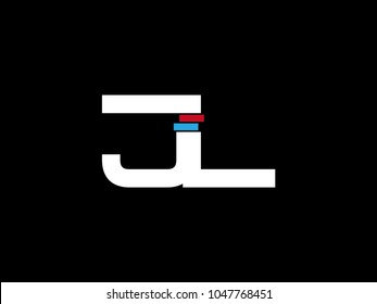 Initial uppercase letter JL logo on black background