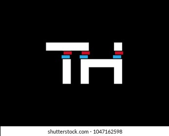 Initial uppercase letter TH logo on black background