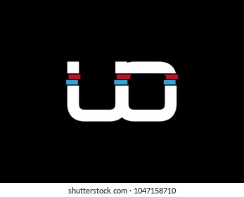 Initial uppercase letter UO logo on black background
