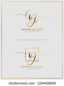 Initial V J VJ handwriting logo vector. Letter handwritten logo template.