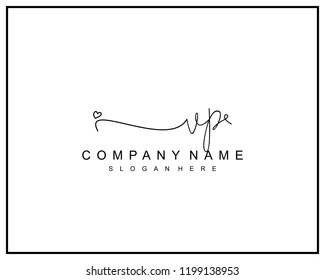 Initial V P handwriting logo template vector