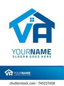 Initial V & A real estate logo template vector