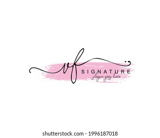 Initial VF beauty monogram and elegant logo design, handwriting logo of initial signature, wedding, fashion, floral and botanical with creative template.