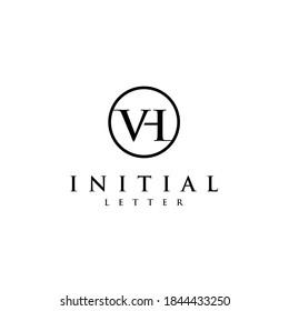 Initial VH HV Letter Logo Design.Creative Luxury Font Vector