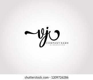 Initial VJ handwriting logo vector