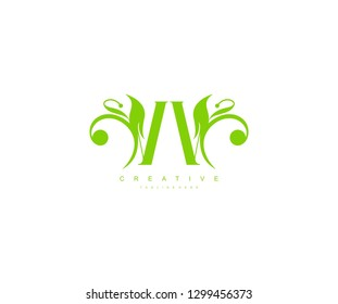 Initial VV Letter Abstract Green Leaf Monogram Stylish Logo Design