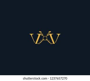Initial VV Letter Linked Swoosh Half Round Leaf Monogram Logotype