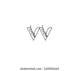 Initial VV Letter Outline Linked Floral Ornate Leaf Monogram Logotype